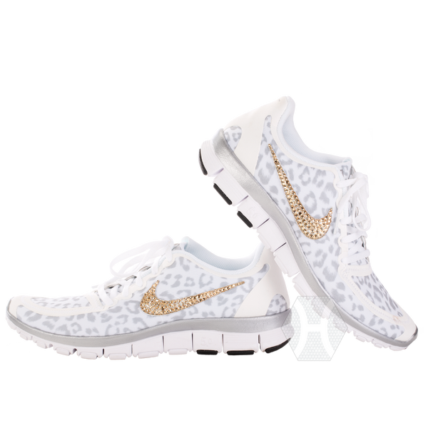 Nike Free 5.0v4 White/Wolf Gray/Metallic Silver Cheetah Gold Crystals - Harriet & Hazel  - 1