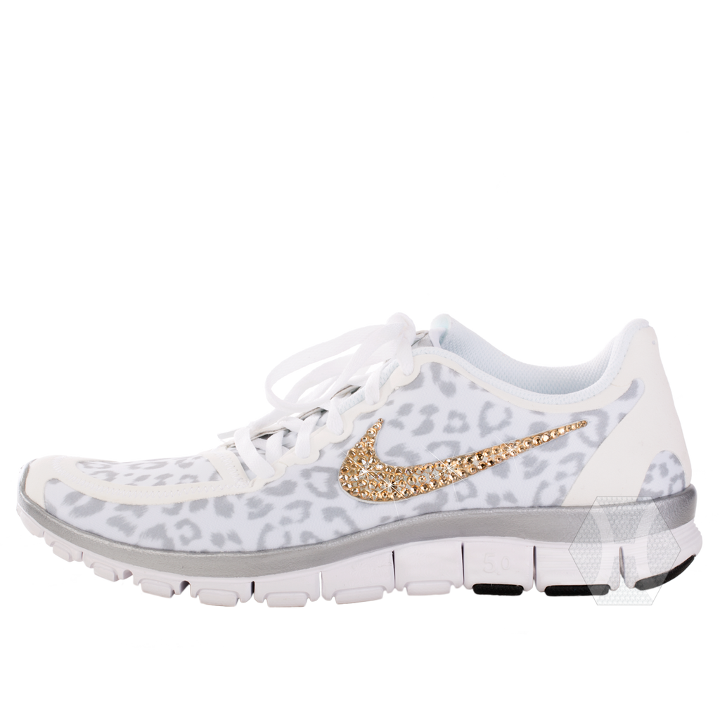 496a0cf7d5a9 ... Nike Free 5.0v4 White Wolf Gray Metallic Silver Cheetah Gold Crystals -  Harriet ...