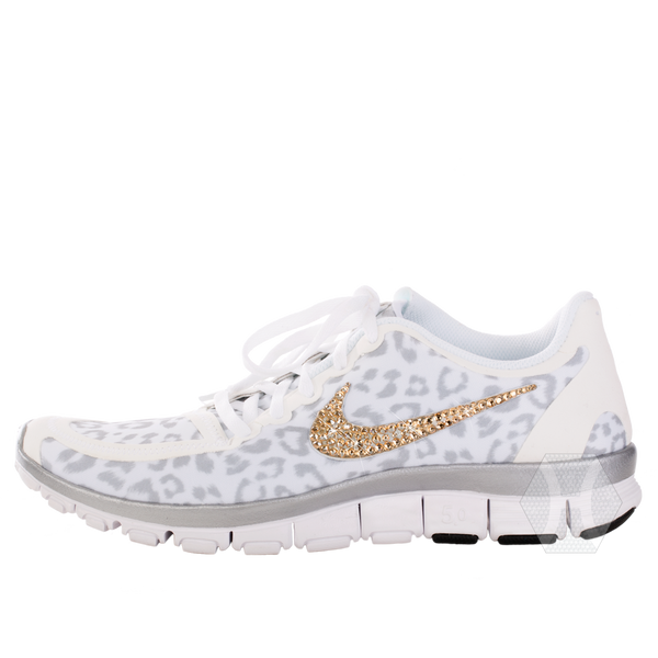 Nike Free 5.0v4 White/Wolf Gray/Metallic Silver Cheetah Gold Crystals - Harriet & Hazel  - 2