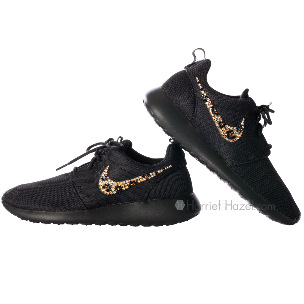 NIKE Roshe Run with Black Cheetah Swoosh - Harriet & Hazel  - 1