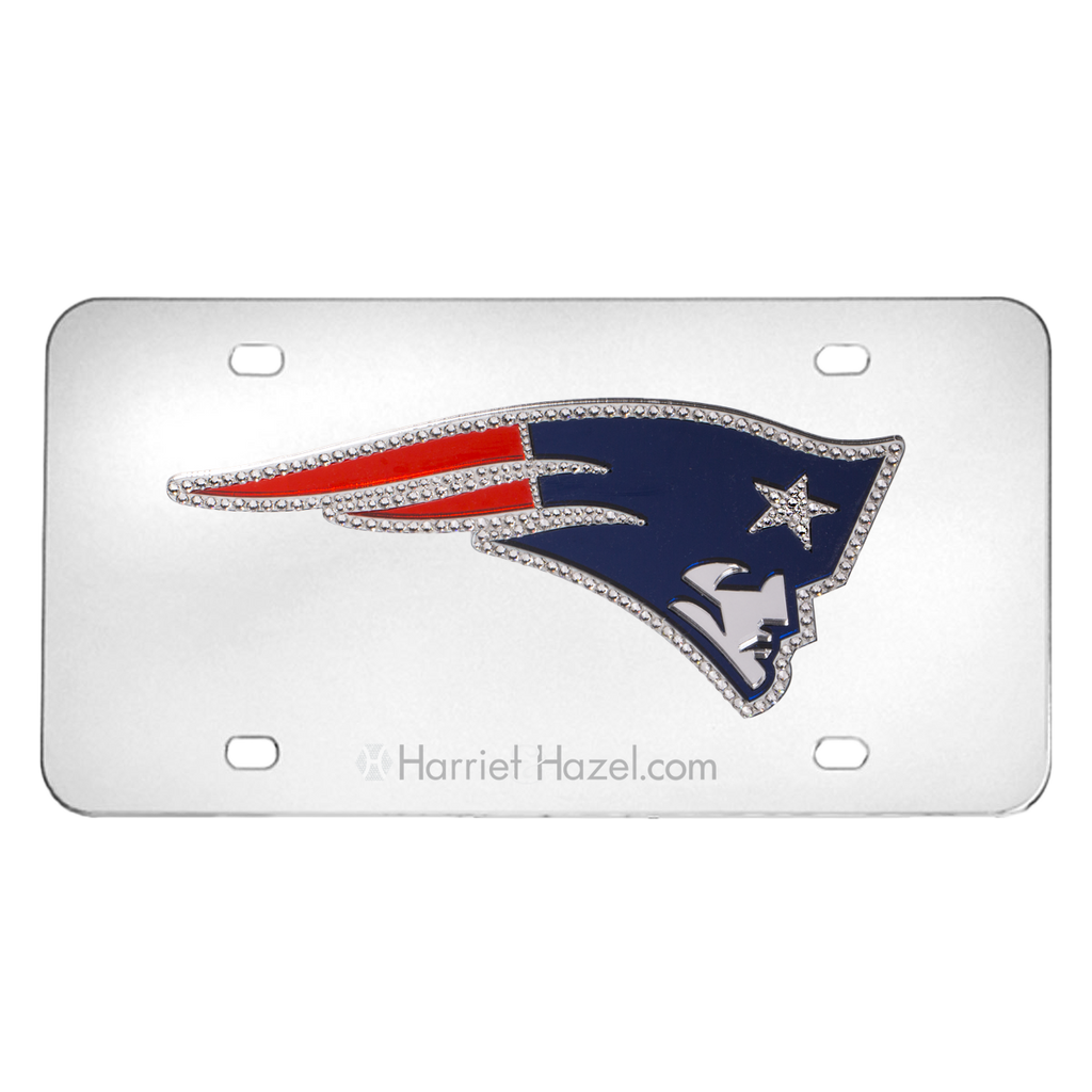 NFL New England Patriot Steel License Plate with Swarovski Crystals - Harriet & Hazel