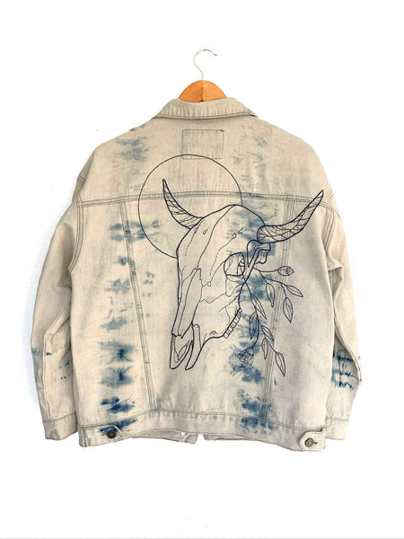 cow skull western denim embroidered tie dye jacket