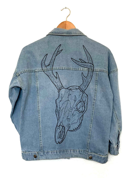 deer skull embroidered oversized denim jacket