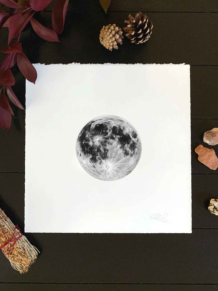 graphite pencil drawing of a full moon
