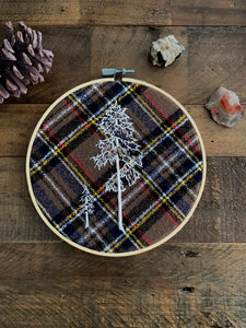 western hemlock hand embroidery on plaid