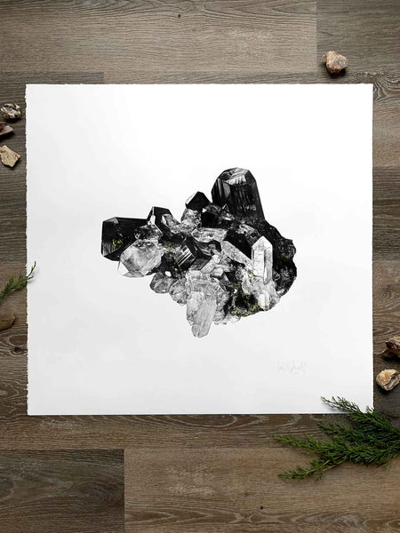 graphite drawing of smoky quartz