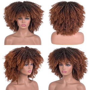 Short Hair Afro Kinky Curly Wigs With Bangs For Black Women African Sy Aurelius Haircare
