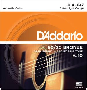 D'Addario EJ10 80/20 Bronze Extra Light Acoustic Guitar Strings-All You Need Music, Canadian Music Store