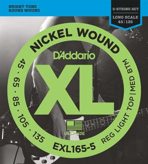D'Addario XL165-5 Electric 5-String Bass Guitar Strings-All You Need Music, Canadian Music Store