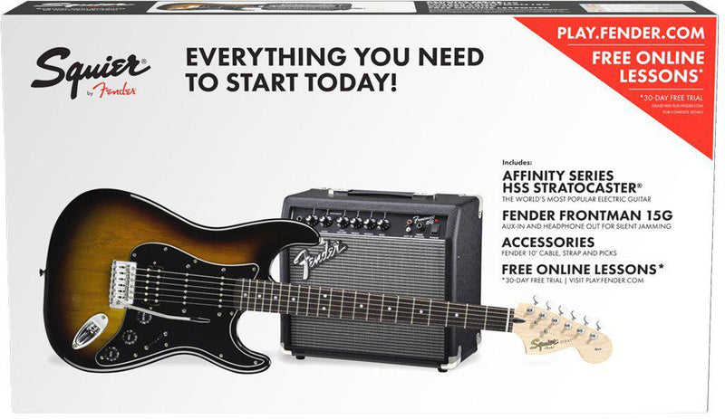 Squier Affinity Series Strat HSS Pack, Brown Sunburst-All You Need Music, Canadian Music Store