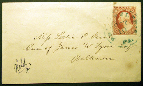 3c Orange Brown 1851-57 Philadelphia to Baltimore Cover