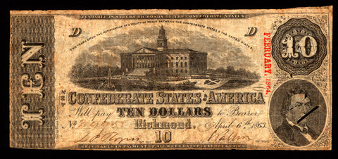 $10 Confederate CSA Currency Type 59 Dated April 6,1863, Used
