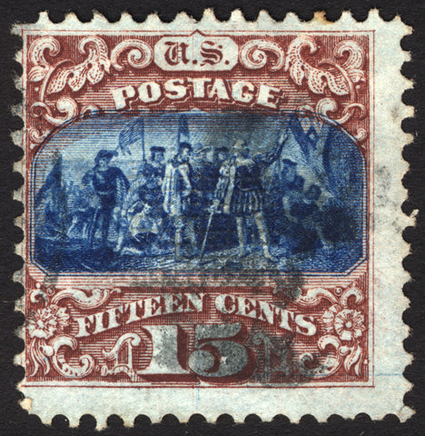 #118 15c Brown & Blue type I 1869 Used Center Shift Error