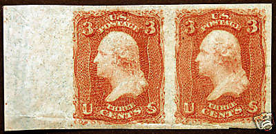 #65TC-Ad 3c Brown Rose Essay Margin Pair VF *MNH* OG Extremely Scarce!