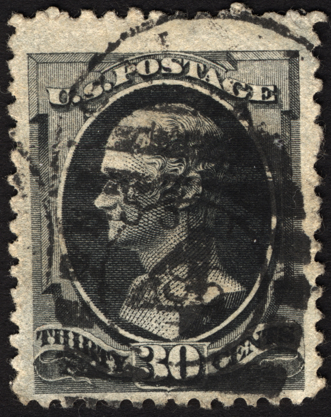 U.S. #154 30c Black 1870 VF Used  CV $300+