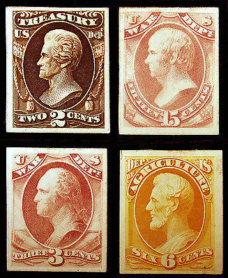 #O73P4, O85P4, O90P4 & O4P4 1873 Official Proofs on Card Mint Lightly Hinged