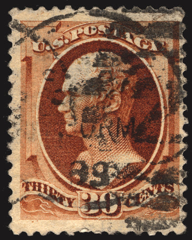 Classic U.S. #217 30c Orange Brown 1888 VF Used CV $120