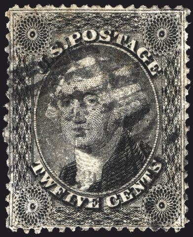 Classic U.S. #36 12c Black 1857 VF Used with Circle Grid Cancel CV $350+