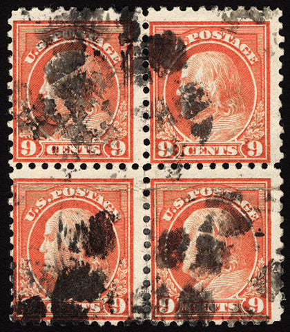 #432 6c Salmon Red 1914 Rare Used Block of 4
