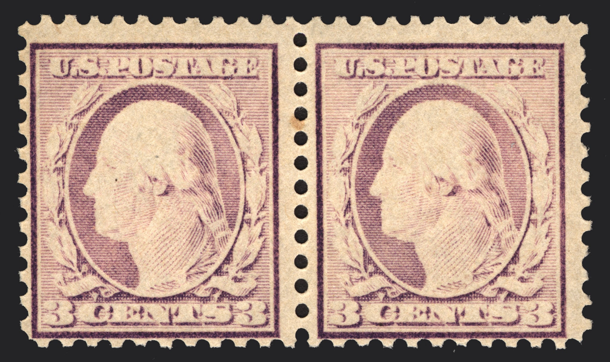 #502 3c Dark Violet 1917 Under Inked Pair Error *MNH*