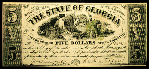 $5 Georgia Confederate Civil War Note #16021 Dated April 6, 1864 Milledgeville