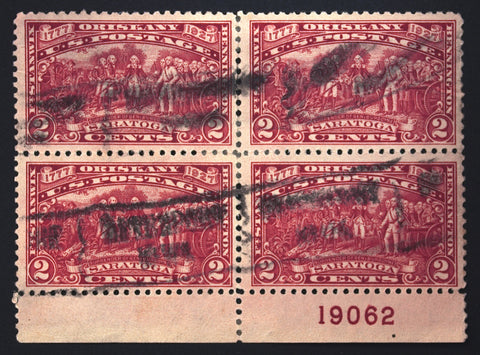 #644 2c Carmine Rose 1927 Rare Used Plate # Block of 4