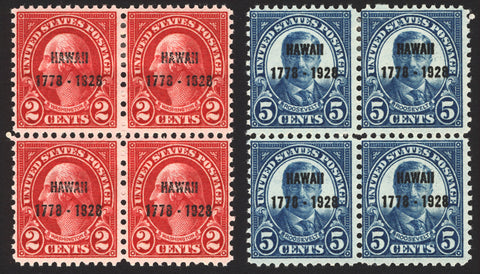 #647-648 2c & 5c 1928 Hawaii Blocks of 4 MLH