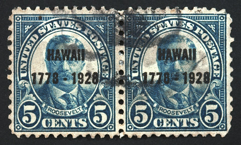 #648 5c Dark Blue 1928 Rare Hawaii Used Horizontal Pair