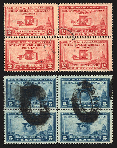 #649-#650 2c-5c 1928 Used Blocks of 4