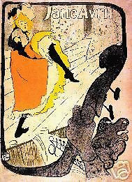 "JANE AVRIL by Toulouse-Lautrec Giclee 13"" x18"""