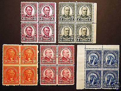 #635-#695 1922-26 Assorted Blocks of 4 *MNH* PO Fresh