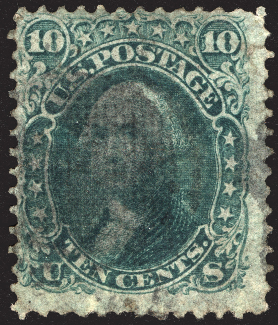 U.S. #96 10c Green 1868  VF-XF Used ::F Grill:: CV $275++
