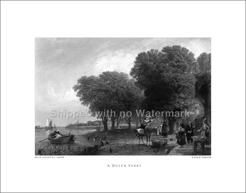 "A DUTCH FERRY Engraving Reproduction 11""x14"" $39.95"