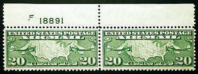 #C9 Air Post 20c Yellow Green1927 XF Mint Plate #F18891 Pair Gem