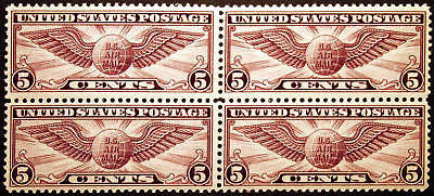 #C12 Air Post 5c Violet 1930 XF *MNH* Block of 4 Fresh