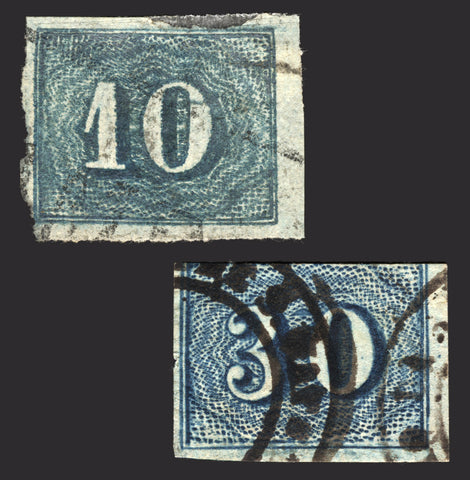 Brazil #37 & #38 Blue 1854 Imperf Scruffy Used 2 items