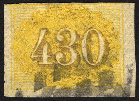 Brazil #40 430r Yellow 1861 Imperf Used Rare