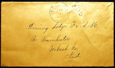 1850s Masonic Stampless Cover to Demings Masonic Lodge North Manchester PAID