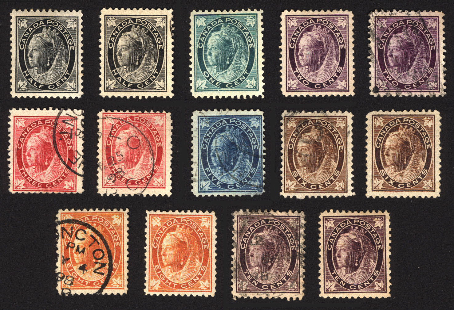 Canada #66-#73 1897-98 Mint & Used Set 14 items