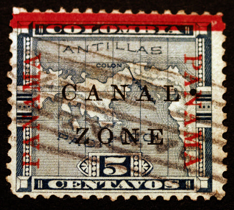 Canal Zone #12 5c Blue 1904  Error with Dot Rare Used