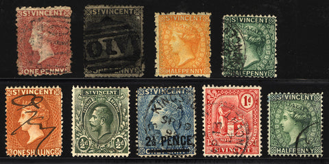Early St. Vincent 1/2p-1s 1863-1914 Nice Used Lot 9 items