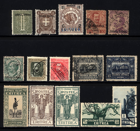 Eritrea 1892-1934 M&U Small Lot 15 items