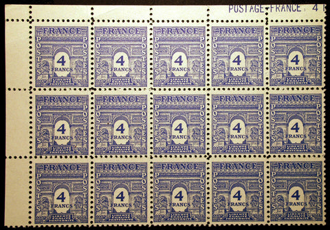 France #2N8 4 fr 1944 Arc de Triomphe Plate # Block of 15 MNH