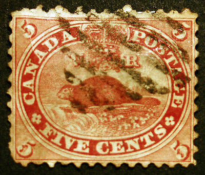 Early Canada #15 Vermillion 1859 Used Beaver