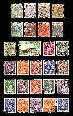 St. Lucia 1883-1948 VF Mint & Used Lot 27 items