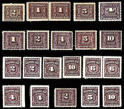 Canada #J1-#J20 Postage Due 1906-65 Mint Lot 19 items CV $389