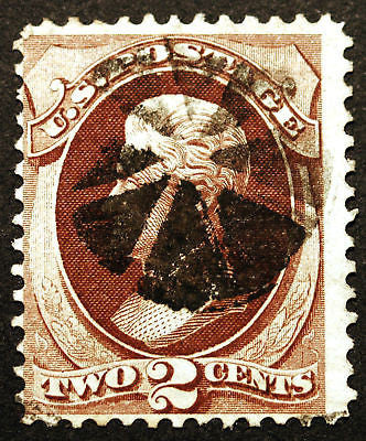 #135 2c Red Brown 1870 ::H Grill:: VF Used Segmented Cancel