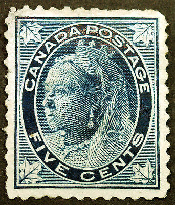 Canada #70 5c Dark Blue 1897 Queen Victoria Maple Leaf Scruffy *MLH*