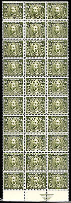 Canada FX1 1/4c Excise Stamp Olive Gray Gem *MNH* Margin Block of 30