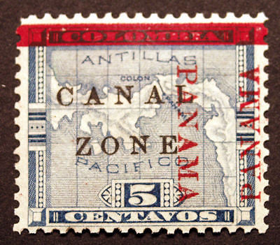 Canal Zone #12 5c Blue 1904 MLH Stunning Shift Error